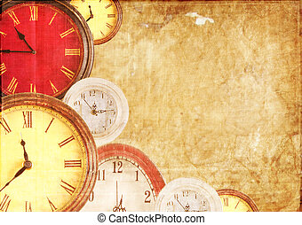 Many clocks on a paper background