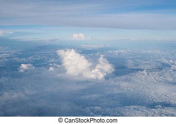 many cloud in blue sky