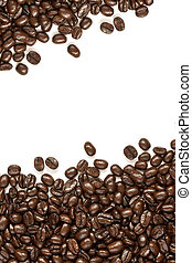 many coffee beans on white background with space