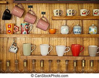 coffee cup on wood shelf
