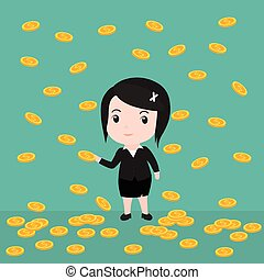 Many coins, Business woman have many coins