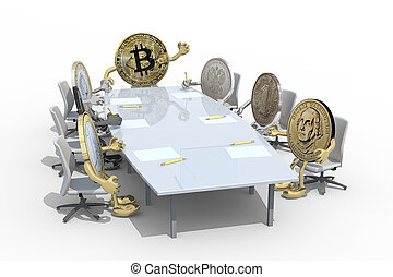 many coins different around the table