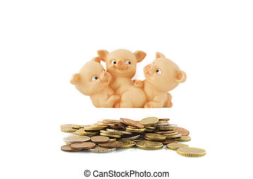 many coins with happy piggy-bank