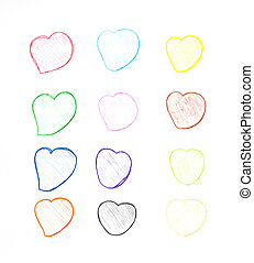 many color  heart from red pencil.