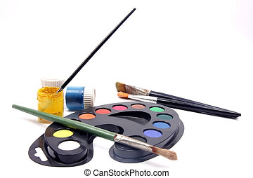 many color pain brushes background