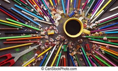 Many color pencils in cute cup or box isolated on the white background