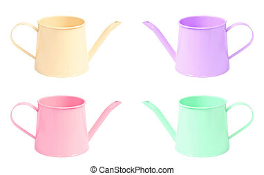 many color watering can isolated on white background.