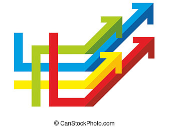 many colored arrows arranged as a symbol