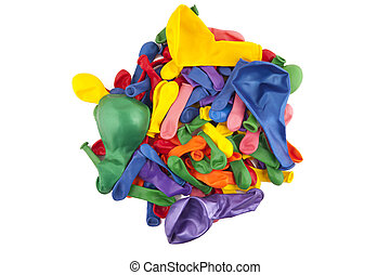 many-colored balloons on a white background