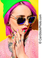 many-colored - Bright fashion concept. Trendy girl with...
