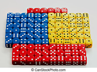 Many colored dice with random numbers being displayed