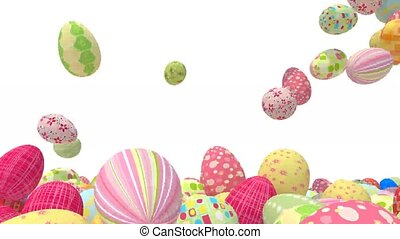 many colored easter eggs fall on white background