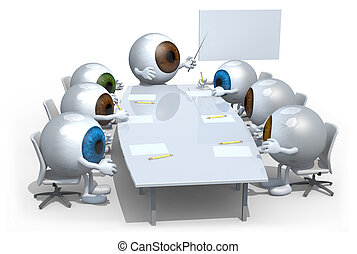 many colored eyeballs meeting around the table and follow...