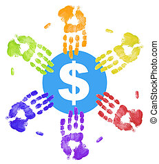 many colored hand prints all reaching out for the money