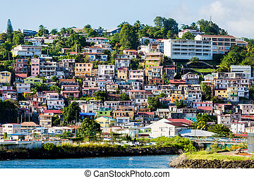 Many Colored Homes up Hill on Martinique - Many colorful...