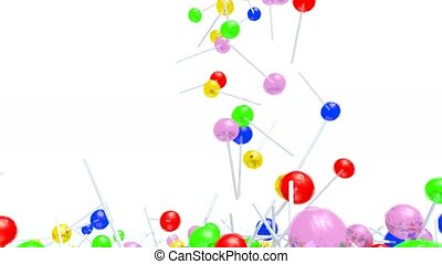 many colored lollipop fall on white background - many...