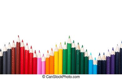 Many colored pencil triangle shape
