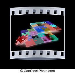 many-colored,  Puzzle, modèle, pellicule, bande