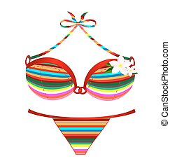 many-colored swimsuit and flower - white background and the...