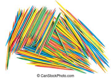 Many Colored Toothpicks - Many colored toothpicks on white...