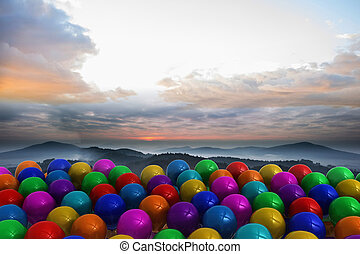 Many colorful balloons above lands