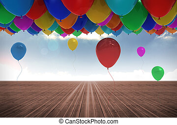 Many colorful balloons background