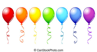 many colorful balloons in rainbow colors