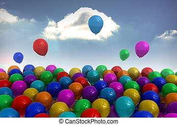 Many colorful balloons sky background