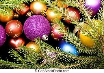 Many colorful christmas balls