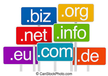 domain signboard - many colorful domain signboards on white...