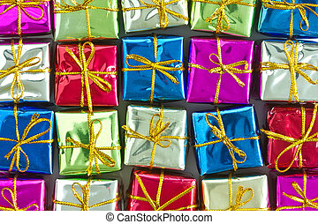 many colorful  gift boxes