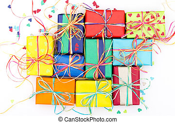 Many colorful gifts - Composition of many colorful presents...
