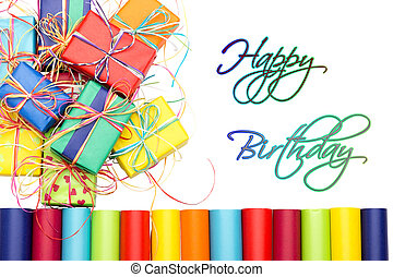 Happy Birthday - Many colorful gifts with the inscription...