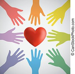 Many Colorful Hands Surrounding A R