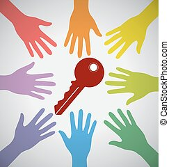 Many Colorful Hands Surrounding A Red Key