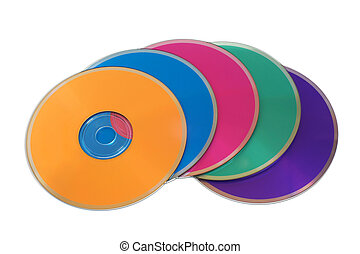 Many colorful multimedia disks on a white background