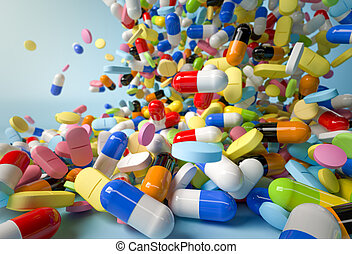 Many colorful pills and capsules falling on white...