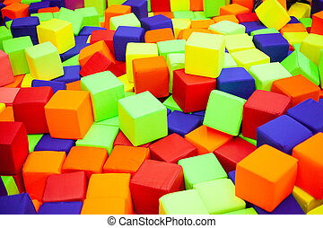 colorful plastic cubes on children's playground