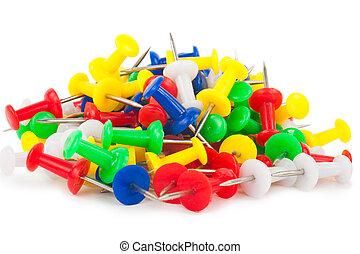Many colorful push pins