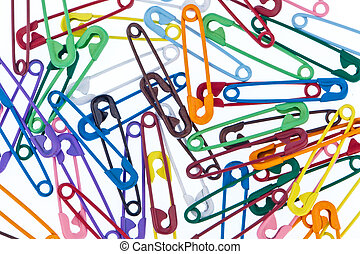 many colorful safety pin - Lots of colorful safety pin lying...
