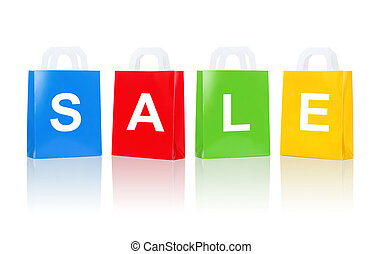 many colorful shopping bags with sale word
