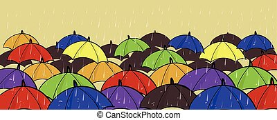 Many Colorful Umbrellas Different Unique Individuality Stand Out Of Crowd Concept Copy Space On Yellow Background