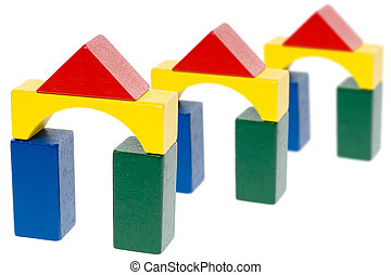 wooden blocks - many colorful wooden blocks isolated over a ...