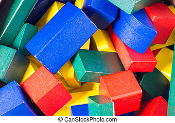 wooden blocks - many colorful wooden blocks
