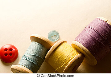 many-coloured, κουμπιά , και , καρούλι