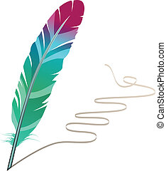 Many-coloured feather isolated on white background with flourish