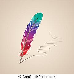 many-coloured, pluma, en, fondo beige