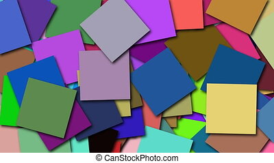 Many coloured square shapes are on surface, 3d rendering computer generated backdrop