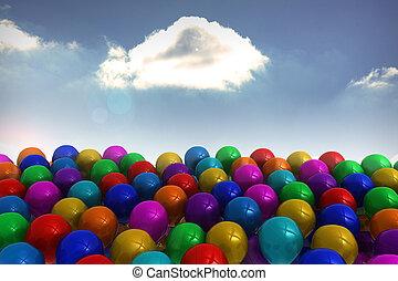 Many colourful balloons sky backgro