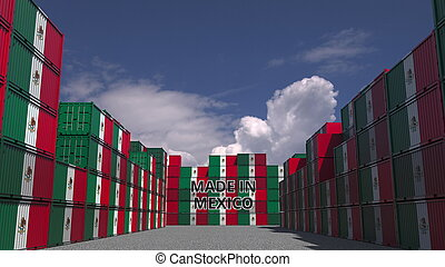Many containers with MADE IN MEXICO text and national flags. Mexican import or export related 3D rendering